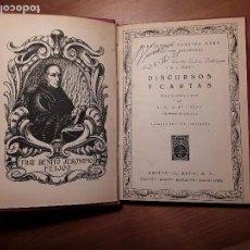 Libros antiguos: DISCURSOS Y CARTAS BENITO JERONIMO FEIJOO EDITORIAL EURO 1941 ZARAGOZA UNICO. Lote 76901547