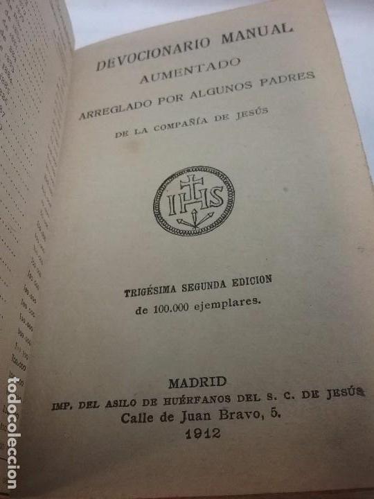 Libros antiguos: ANTIGUO DEVOCIONARIO AÑO 1912 - DEVOCIONARIO MANUAL AUMENTADO - Foto 2 - 77907089