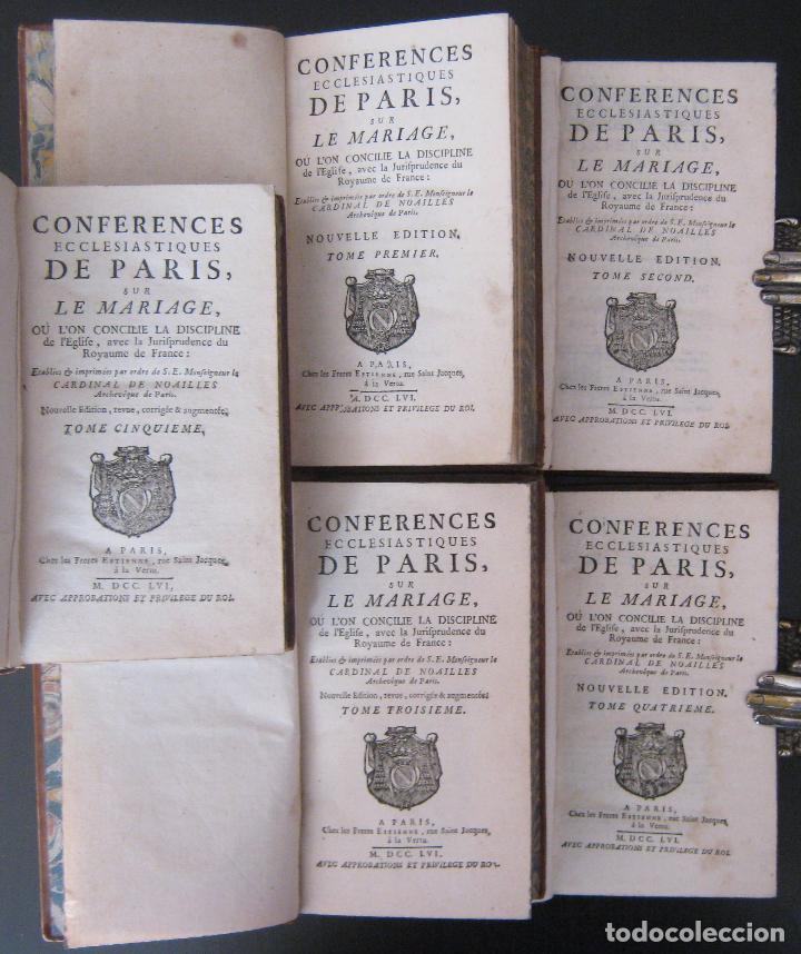 Libros antiguos: 1756 - 5 Tomos del Siglo XVIII - Jurisprudencia, Matrimonio, Derecho Canónico - Libro Antiguos, Piel - Foto 7 - 78252381