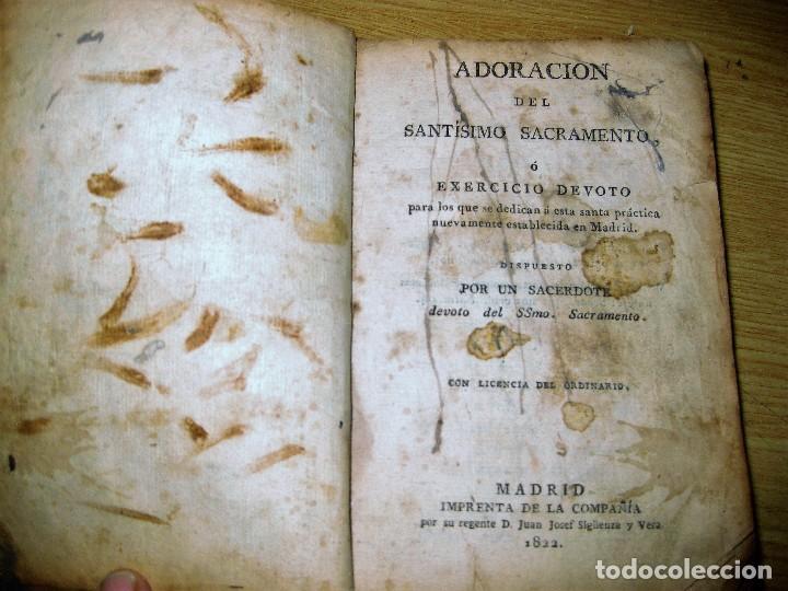 LIBRO ADORACION DEL SANTISIMO SACRAMENTO O EXERCICIO DEL VOTO . 1822 MADRID CALLE CARRETAS (Libros Antiguos, Raros y Curiosos - Religión)