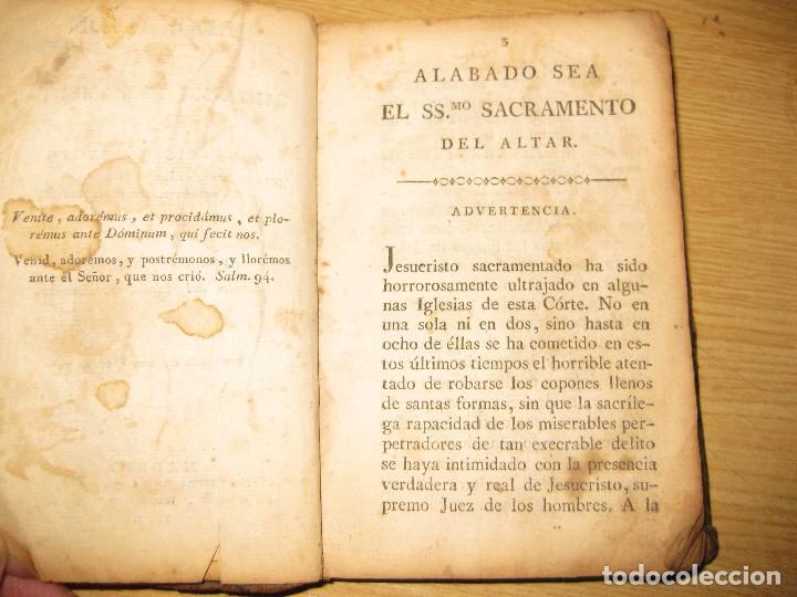 Libros antiguos: libro adoracion del santisimo sacramento o exercicio del voto . 1822 madrid calle carretas - Foto 5 - 79673577