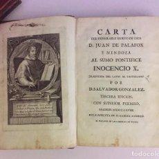 Libros antiguos: VOLÚMEN CON DOS CARTAS DE D. JUAN PALAFOX Y MENDOZA (1768). Lote 83897364