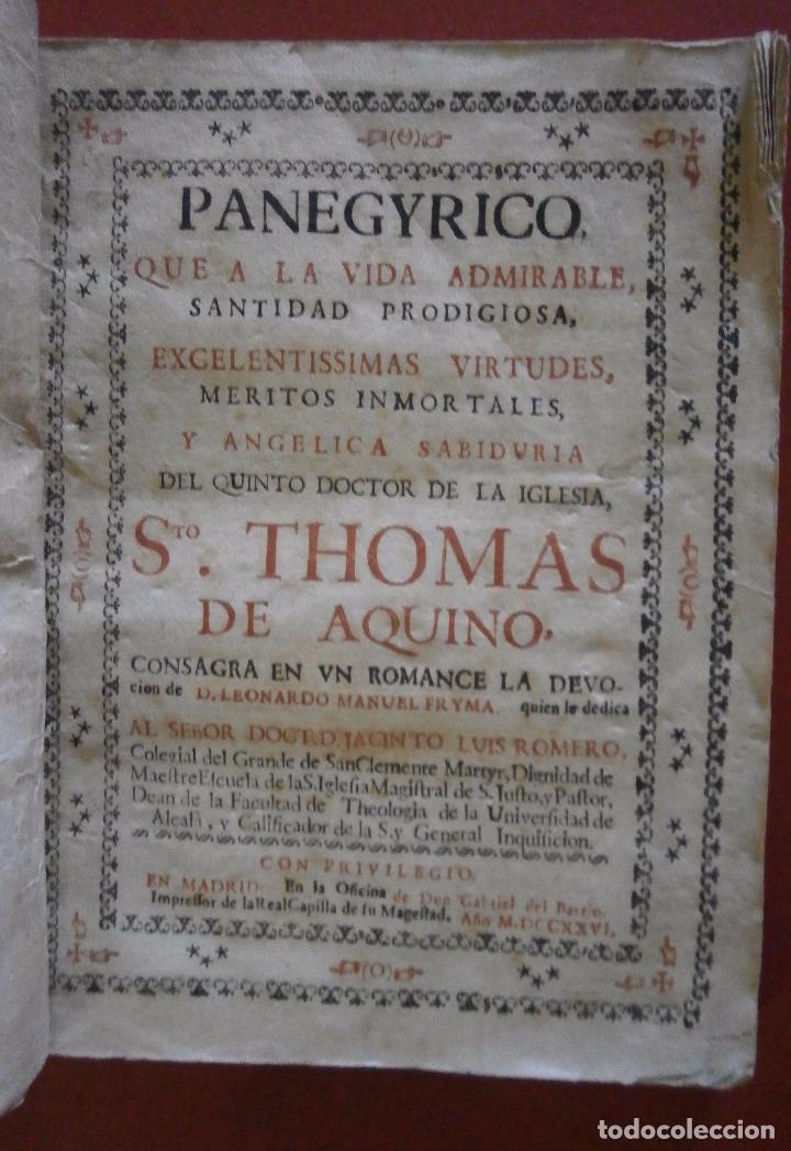 PANEGYRICO, QUE A LA VIDA ADMIRABLE, SANTIDAD PRODIGIOSA, EXCELENTISIMAS VIRTUDES, MERITOS INMORTALE (Libros Antiguos, Raros y Curiosos - Religión)