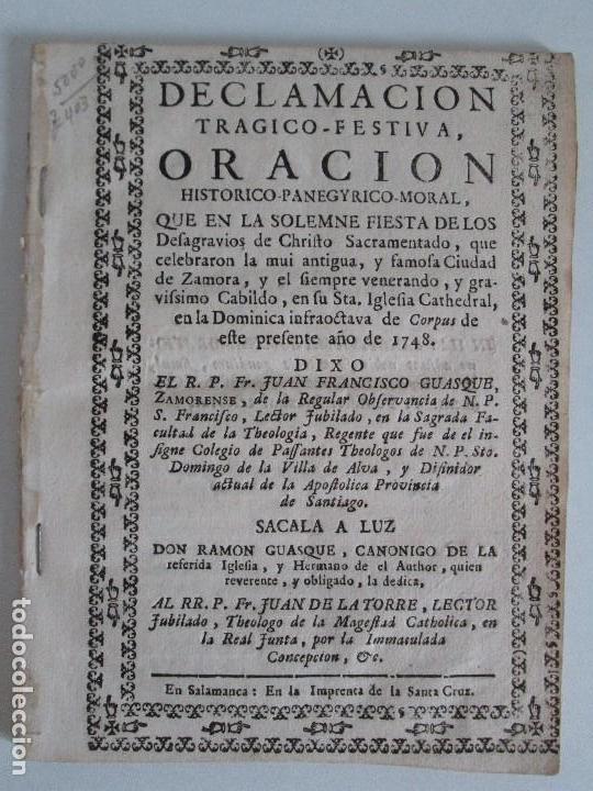 Libros antiguos: DECLAMACION TRAGICO FESTIVA ORACION HISTORICO PANEGYRICO MORAL. JUAN FRANCISCO GUASQUE. VER FOTOS - Foto 2 - 93117165