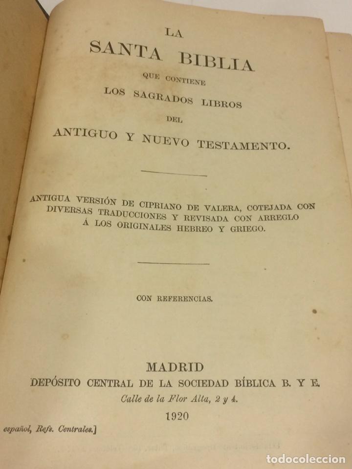 Libros antiguos: Santa Biblia Los Sagrados libros de antiguo y Nuevo Testamento 1920 - Foto 3 - 109392010