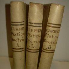 Libros antiguos: TRES LIBROS TAPAS DE PERGAMINO...PLATICAS DOMINICALES Y MORALES...AÑO.1.828...OBRA COMPLETA.. Lote 95416375
