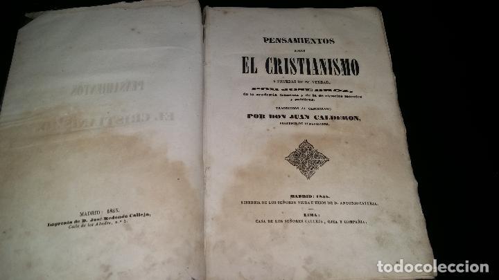 Libros antiguos: PENSAMIENTOS SOBRE EL CRISTIANISMO y pruebas de su verdad / jose droz / 1845 - Foto 3 - 96177959