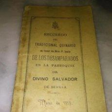 Libros antiguos: QUINARIO 1919 CRISTO DE LOS DESAMPARADOS SEVILLA DIVINO SALVADOR GRABADO - SEMANA SANTA 34 PAGINAS. Lote 99849923