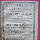 Libros antiguos: PEDRO SALAZAR Y GONGORA.-DECLAMACION PANEGYRICA.-RELIGION.-OBISPO DE JAEN.-JAEN.-CORDOBA.-AÑO 1738.. Lote 102624183