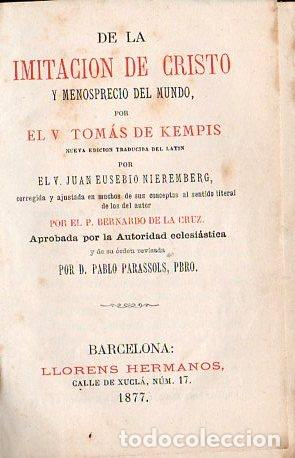 TOMÁS DE KEMPIS : DE LA IMITACIÓN DE CRISTO Y MENOSPRECIO DEL MUNDO (LLORENS, 1877) (Libros Antiguos, Raros y Curiosos - Religión)