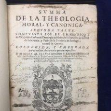 Libros antiguos: SUMMA DE LA THEOLOGIA MORAL Y CANONICA. 1641. Lote 103111471