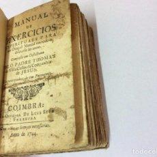 Libros antiguos: MANUAL DE EJERCICIOS ESPIRITUAL PARA TENER ORACIÓN MENTAL ... 1.ª EDICIÓN PORTUGUESA., 1744, RARO. Lote 103487171