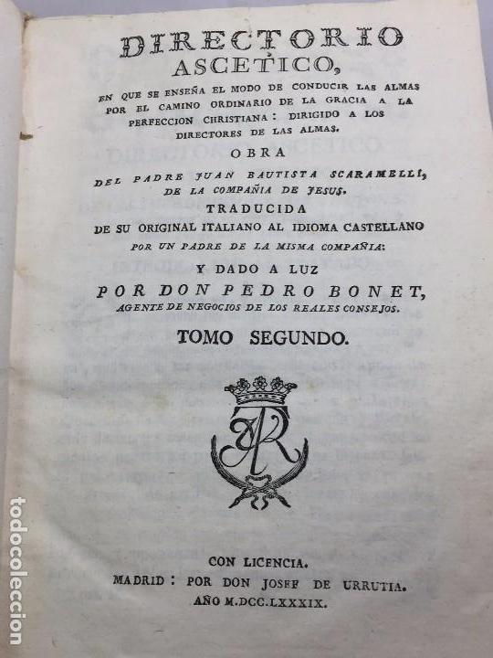 DIRECTORIO ASCÉTICO SCARAMELLI BONET TOMO II MADRID 1789 PERGAMINO COMPAÑIA JESÚS JESUITA (Libros Antiguos, Raros y Curiosos - Religión)