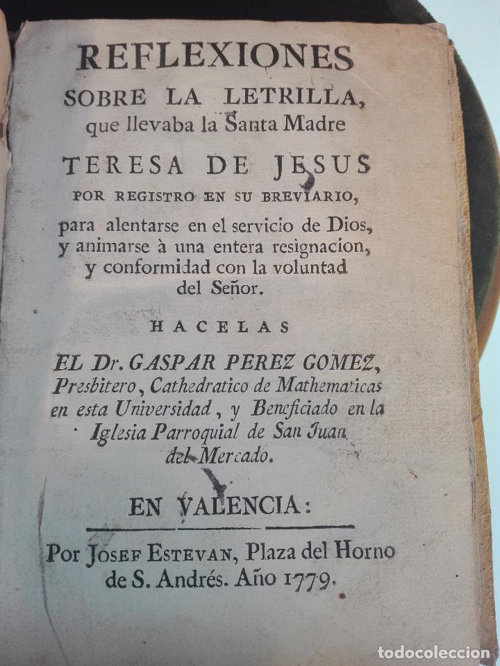 REFLEXIONES SOBRE LA LETRILLA, QUE LLEVABA LA SANTA MADRE TERESA DE JESUS - D. GASPAR PEREZ GOMEZ - (Libros Antiguos, Raros y Curiosos - Religión)