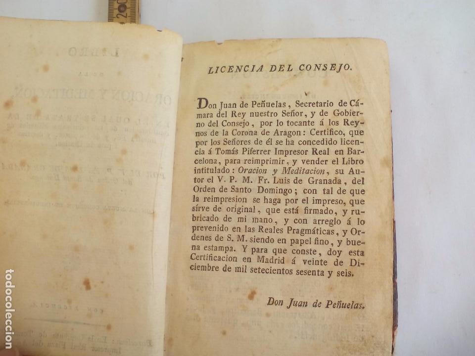 Libros antiguos: Libro de la Oración y Meditación del venerable Padre Maestro Fray Luis de Granada.1766.imp. Piferrer - Foto 8 - 105332939