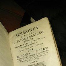 Libros antiguos: SERMONES DE JACOBO BENIGNO BOSSUET.1775. TOMO 5.. Lote 105738896