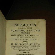 Libros antiguos: SERMONES DE JACOBO BENIGNO BOSSUET.1776. TOMO 7. Lote 105742850