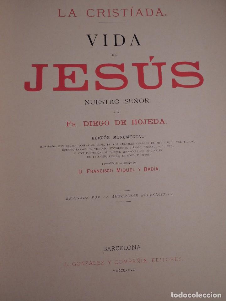Libros antiguos: LIBRO LA CRISTIADA VIDA DE JESUS POR DIEGO DE HOJEDA 1896 - Foto 4 - 105834599