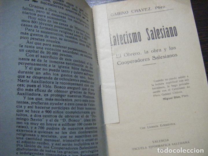Libros antiguos: JML RELIGION GABINO CHAVEZ PBRO, CATECISMO SALESIANO, EL OBRERO, LA OBRA Y...VALENCIA 1928. VER FOTO - Foto 2 - 106560707