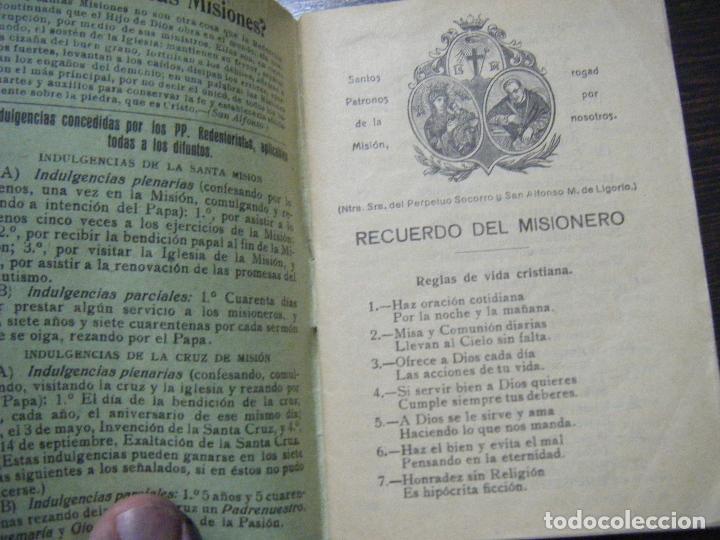 Libros antiguos: JML RELIGION RECUERDO DE LA SANTA MISION DE LOS P.P. REDENTORISTAS, MADRID EL PERPETUO SOCORRO 1928. - Foto 2 - 106560887