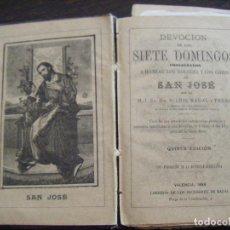 Libros antiguos: JML RELIGION DEVOCION DE LOS SIETE DOMINGOS CONSAGRADOS A HONRAR DOLORES Y GOZOS VALENCIA 1898. Lote 106566075
