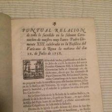 Libros antiguos: RELACIÓN CORONACIÓN CLEMENTE XIII - VATICANO - ROMA - 1758. Lote 107177311