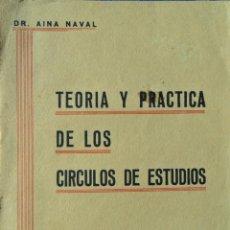 Libros antiguos: TEORÍA Y PRÁCTICA DE LOS CÍRCULOS DE ESTUDIOS..AINA NAVAL. ZARAGOZA 1937.. Lote 108050891