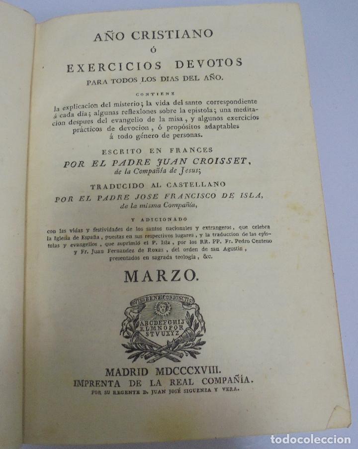 AÑO CRISTIANO. JUAN CROISSET. MARZO. MADRID 1818. IMPRENTA DE LA REAL COMPAÑIA. 517 PAG (Libros Antiguos, Raros y Curiosos - Religión)