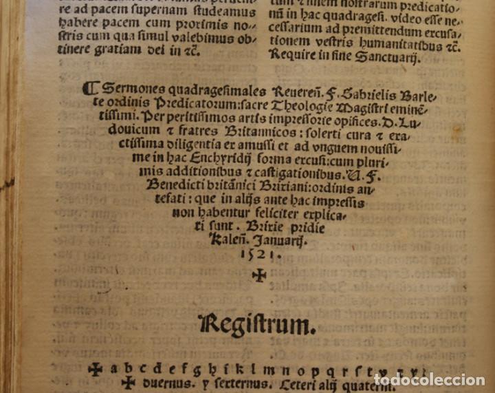 Libros antiguos: Año 1521. Libro siglo XVI en pergamino. Barlete Sermones exactissime ipsessi: S. Bendictu britanicu - Foto 17 - 109042727