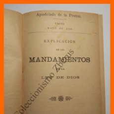 Libros antiguos: EXPLIACION DE LOS MANDAMIENTOS DE LA LEY DE DIOS - COLECCIÓN OPUSCULOS APOSTOLADO DE LA PRENSA Nº50. Lote 110786675