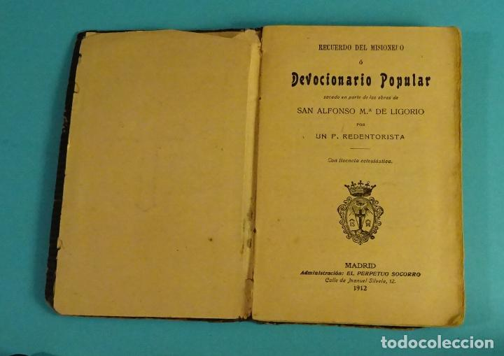 RECUERDO DEL MISIONERO O DEVOCIONARIO POPULAR SACADO EN PARTE DE LAS OBRAS DE SAN ALFONSO Mª LIGORIO (Libros Antiguos, Raros y Curiosos - Religión)