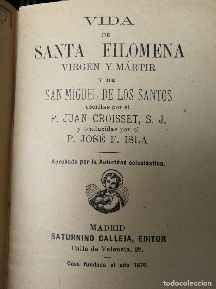 Libros antiguos: LIBRILLO CALLEJA, VIDA DE SANTA FILOMENA, FLORES CELESTES - Foto 2 - 112177403