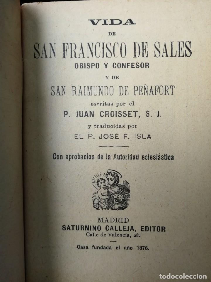 Libros antiguos: LIBRILLO CALLEJA, VIDA DE SAN FRANCISCO DE SALES, FLORES CELESTES - Foto 2 - 112177459