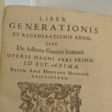 Libros antiguos: ARIAS MONTANO. LIBER GENERATIONIS DE 1593.. Lote 112655948