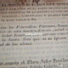 Libros antiguos: PEDRO JOSE BENCOMO.DEAN SAN CRISTOBAL DE LA LAGUNA.PRIMER RECTOR UNIVERSIDAD.CANARIAS.1824.DIFICIL.. Lote 112938859