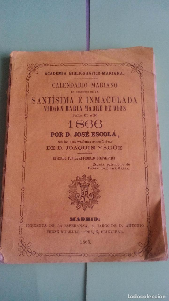 Calendario Mariano.Calendario Mariano En Obsequio De La Santisima Sold At