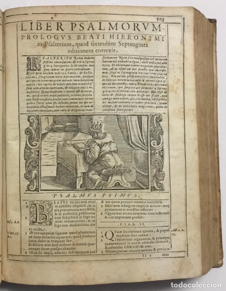 Libros antiguos: BIBLIA, AD VETUSTISSIMA EXEMPLARIA nunc recens castigata. VENECIA, 1599. CON GRABADOS EN EL TEXTO. - Foto 16 - 109021794