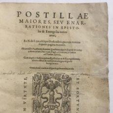 Libros antiguos: POSTILLAE MAIORES SEU ENARRATIONES IN EPISTOLAS & EUANGELIA TOTIUS ANNI, EX N. DE LYRA, ALIISQUE DOC. Lote 114154828