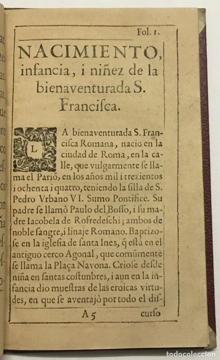 Libros antiguos: VIDA, SANTIDAD, I MILAGROS DE S. FRANCISCA ROMANA, O DE PONCIANI. Con los ritos, i actos solenes de - Foto 2 - 114799620