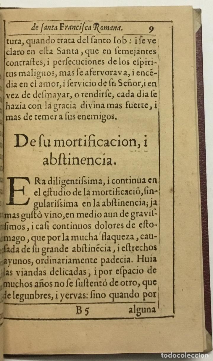 Libros antiguos: VIDA, SANTIDAD, I MILAGROS DE S. FRANCISCA ROMANA, O DE PONCIANI. Con los ritos, i actos solenes de - Foto 3 - 114799620
