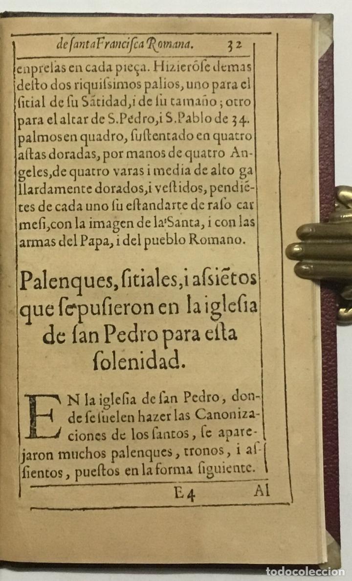 Libros antiguos: VIDA, SANTIDAD, I MILAGROS DE S. FRANCISCA ROMANA, O DE PONCIANI. Con los ritos, i actos solenes de - Foto 4 - 114799620