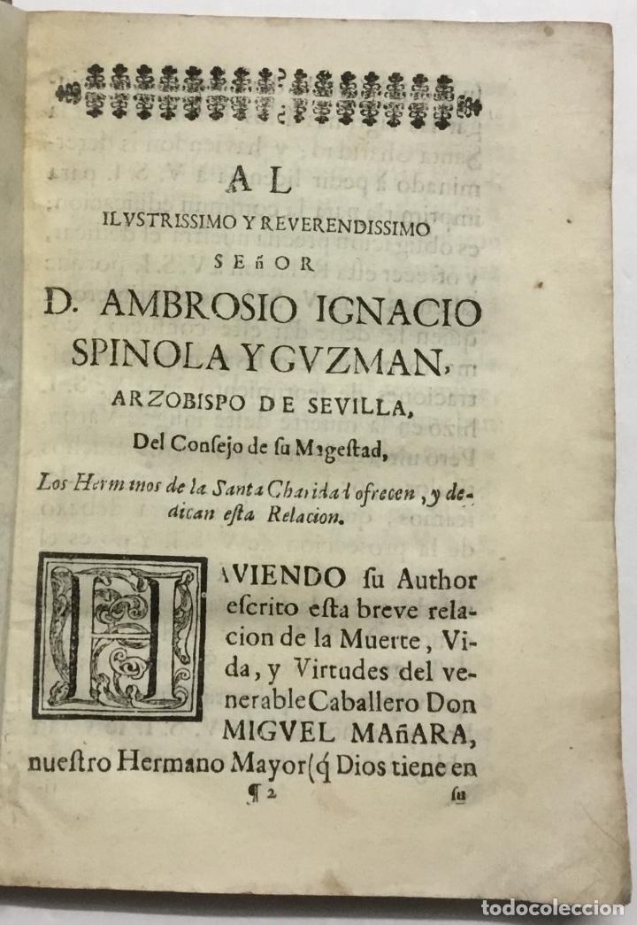 Libros antiguos: BREVE RELACION DE LA MUERTE, VIDA, Y VIRTUDES DEL VENERABLE CABALLERO D. MIGUEL MAÑARA VICENTELO DE - Foto 2 - 114798207