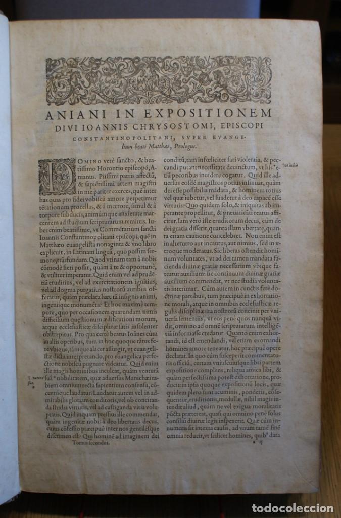 Libros antiguos: 4 LIBROS SIGLO XVI. 1581. PERGAMINO. D. IOANNIS CHRYSOSTOMI ARCHIEPISCOPI CONSTANTINOPOLITANI OPERUM - Foto 7 - 118003707