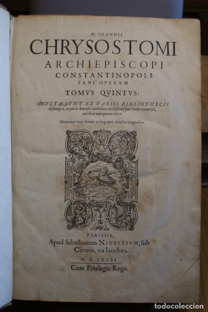 Libros antiguos: 4 LIBROS SIGLO XVI. 1581. PERGAMINO. D. IOANNIS CHRYSOSTOMI ARCHIEPISCOPI CONSTANTINOPOLITANI OPERUM - Foto 16 - 118003707