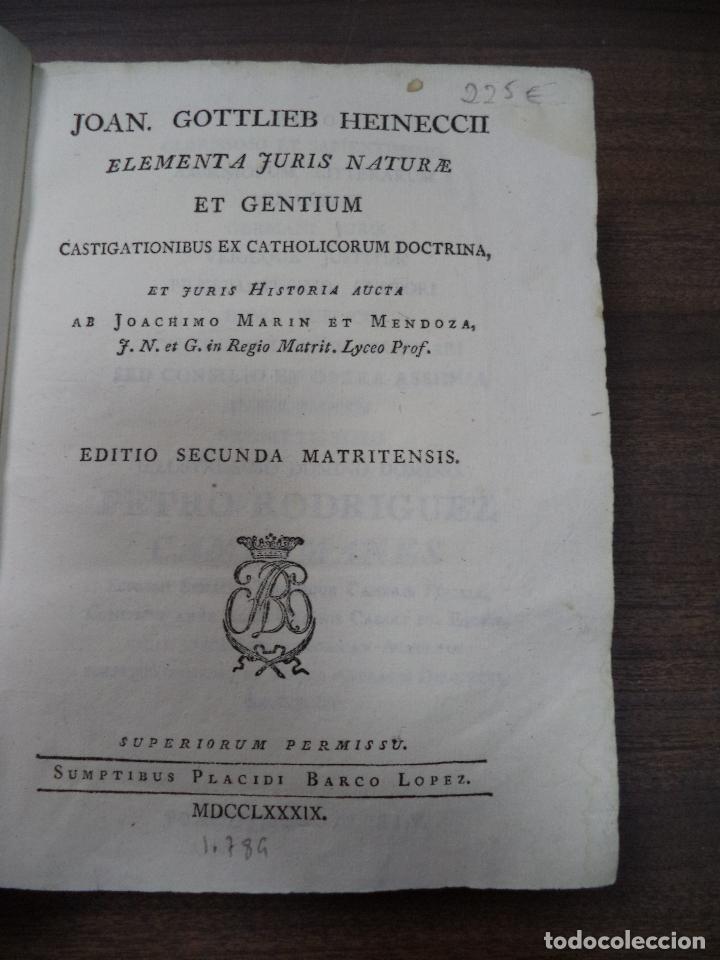 Libros antiguos: JOAN GOTTLIEB HEINECCII. ELEMENTA JURIS NATURE ET GENTIUM. CASTIGATIONIBUS EX CATHOLICORUM . 1789. - Foto 2 - 118520407
