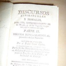 Libros antiguos: DISCURSOS ESPIRITUALES Y MORALES PARA MONJAS Y SAGRADAS VÍRGENES CESAR CALINO MALAGA 1786. Lote 118733551