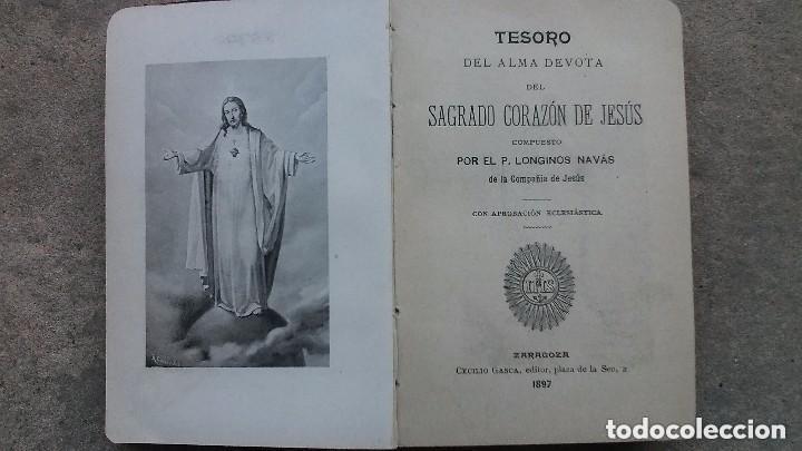 Libros antiguos: LIBRO TESORO DEL ALMA DEVOTA... AÑO 1897 . TAPAS EN PIEL - Foto 2 - 121404395
