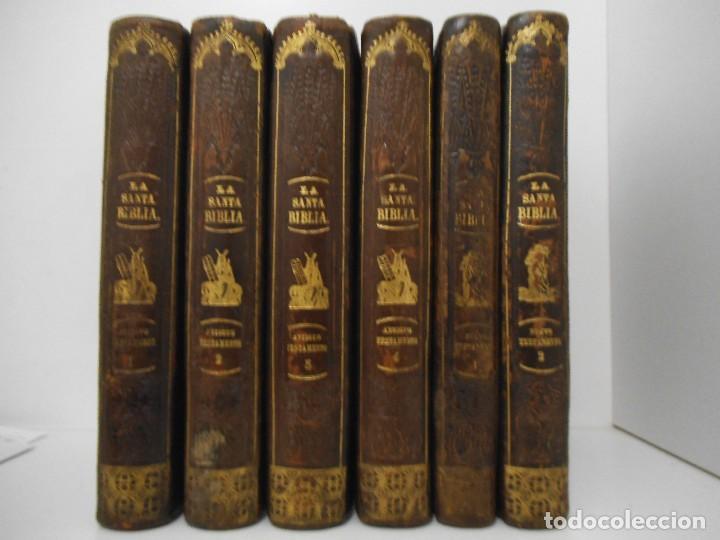 LA SANTA BIBLIA - 1852 - COMPLETA - LAMINAS GRABADOS MAPAS - GOFRADA - P. RIERA (Old, Rare and Curious Books - Religion)