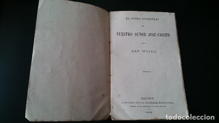 Libros antiguos: EL SANTO EVANGELIO DE NUESTRO SEÑOR JESUCRISTO SEGÚN SAN MATEO - MADRID 1870 - Foto 2 - 125150099