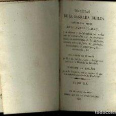 Libros antiguos: VINDICIAS DE LA SAGRADA BIBLIA CONTRA LOS TIROS DE LA INCREDULIDAD 1826. Lote 125230443